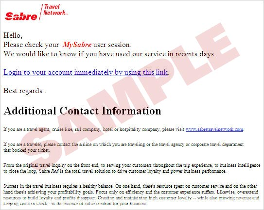 Sabre Travel Network email example